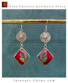 100% Handmade Antique Embroidery Women Fashion Jewelry Unique Silver Teardrop Dangle Tassel Earrings #125