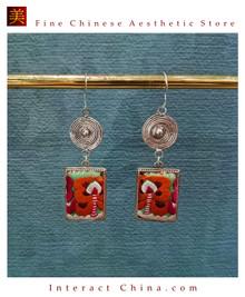 100% Handmade Antique Embroidery Women Fashion Jewelry Unique Silver Teardrop Dangle Tassel Earrings #126