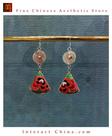 100% Handmade Antique Embroidery Women Fashion Jewelry Unique Silver Teardrop Dangle Tassel Earrings #127