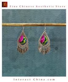 100% Handmade Antique Embroidery Women Fashion Jewelry Unique Silver Teardrop Dangle Tassel Earrings #128
