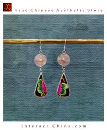 100% Handmade Antique Embroidery Women Fashion Jewelry Unique Silver Teardrop Dangle Tassel Earrings #130