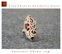 100% Handcrafted Antique Embroidery Women Silver Ring One Of A Kind Boho Statement Adjustable Ring #109Parent