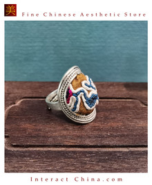 100% Handcrafted Antique Embroidery Women Silver Ring One Of A Kind Boho Statement Adjustable Ring #115