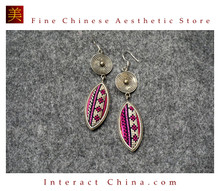 100% Handmade Antique Embroidery Women Fashion Jewelry Unique Silver Teardrop Dangle Tassel Earrings #121