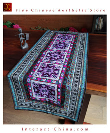 """Hand Cross Stitch Quilt Tapestry Throw 24x61.8"""" Embroidery Textile Sewing Art #120"""