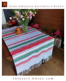 Handwoven Dai Tapestry Bohemian Chic Decor Kilim Rug Cotton 72.8x38.2'' Tablecloth Bed Runner Throws 101