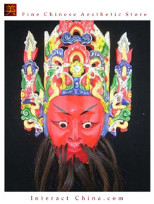 Chinese Drama Home Wall Decor Opera Mask 100% Wood Craft Folk Art #126 Pro Level