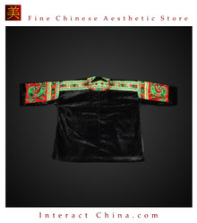 Tribal Vintage Clothing Costume Dress - Hmong Miao Embroidered Velvet Jacket #104