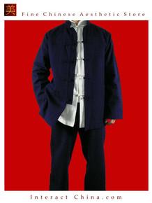 Premium Linen Blue Kung Fu Martial Arts Taichi Uniform Suit XS-XL or Tailor Custom Made