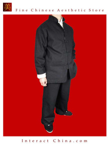 100% Cotton Black Kung Fu Martial Arts Tai Chi Uniform Suit XS-XL or Tailor Custom Made