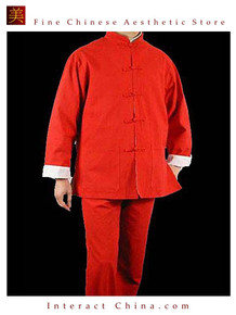 100% Cotton Red Kung Fu Martial Arts Tai Chi Uniform Suit XS-XL or Tailor Custom Made