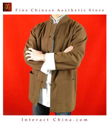 Premium Linen Brown Kung Fu Martial Arts Tai Chi Jacket Coat XS-XL or Tailor Custom Made