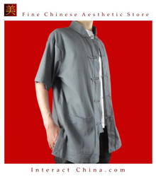 Premium Linen Grey Kung Fu Martial Arts Tai Chi Shirt Clothing XS-XL or Tailor Made