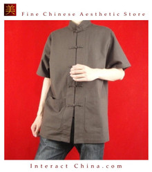 Fine Linen Brown Kung Fu Martial Arts Tai Chi Shirt Clothing XS-XL or Tailor Custom Made