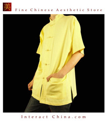 Fine Linen Golden Kung Fu Martial Arts Tai Chi Shirt Clothing XS-XL or Tailor Custom Made
