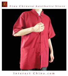 100% Cotton Red Kung Fu Martial Arts Tai Chi Shirt Clothing XS-XL or Tailor Custom Made