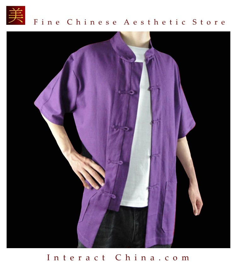 100% Cotton Purple Kung Fu Martial Arts Tai Chi Shirt Clothing XS-XL