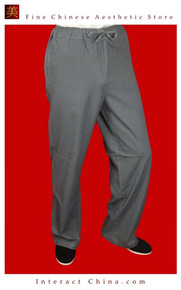 Premium Linen Grey Kung Fu Martial Art Taichi Pant Trousers XS-XL or Tailor Custom Made