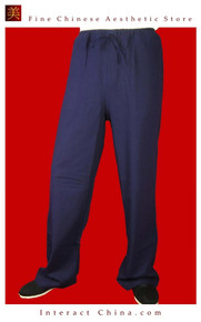 Premium Linen Blue Kung Fu Martial Art Taichi Pant Trousers XS-XL or Tailor Custom Made
