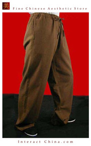 Premium Linen Brown Kung Fu Martial Art Taichi Pant Trousers XS-XL or Tailor Custom Made