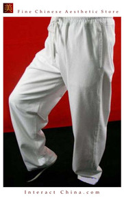 100% Cotton White Kung Fu Martial Arts Tai Chi Pant Trousers XS-XL or Tailor Custom Made