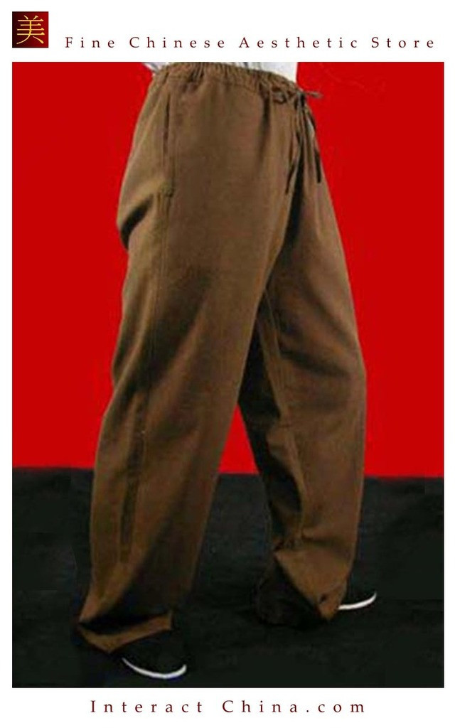 100% Cotton Brown Kung Fu Martial Arts Tai Chi Pant Trousers