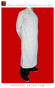 Premium Linen White Kung Fu Martial Arts Tai Chi Long Coat Robe XS-XL or Tailor Custom Made