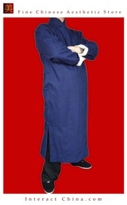 100% Cotton Blue Kung Fu Martial Arts Tai Chi Long Coat Robe XS-XL or Tailor Custom Made