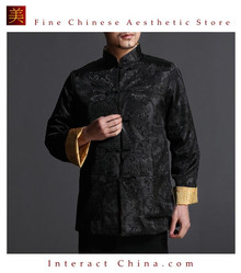 Chinese Tai Chi Kungfu Reversible Black / Gold Jacket Blazer 100% Silk Brocade #104