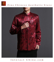 Classic Chinese Tai Chi Kungfu Red Jacket Blazer - Lightweight Silk Blend #203