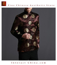 Classic Chinese Tai Chi Kungfu Brown Jacket Blazer - Lightweight Silk Blend #206