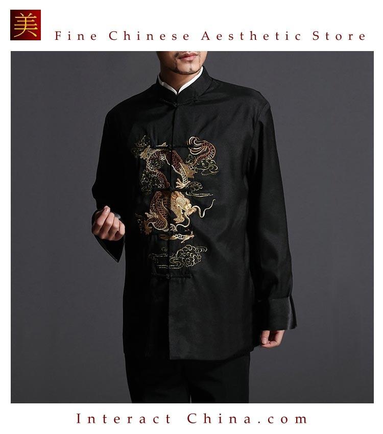 Stylish Black Kung Fu Men's Blazer Padded Jacket Dragon
