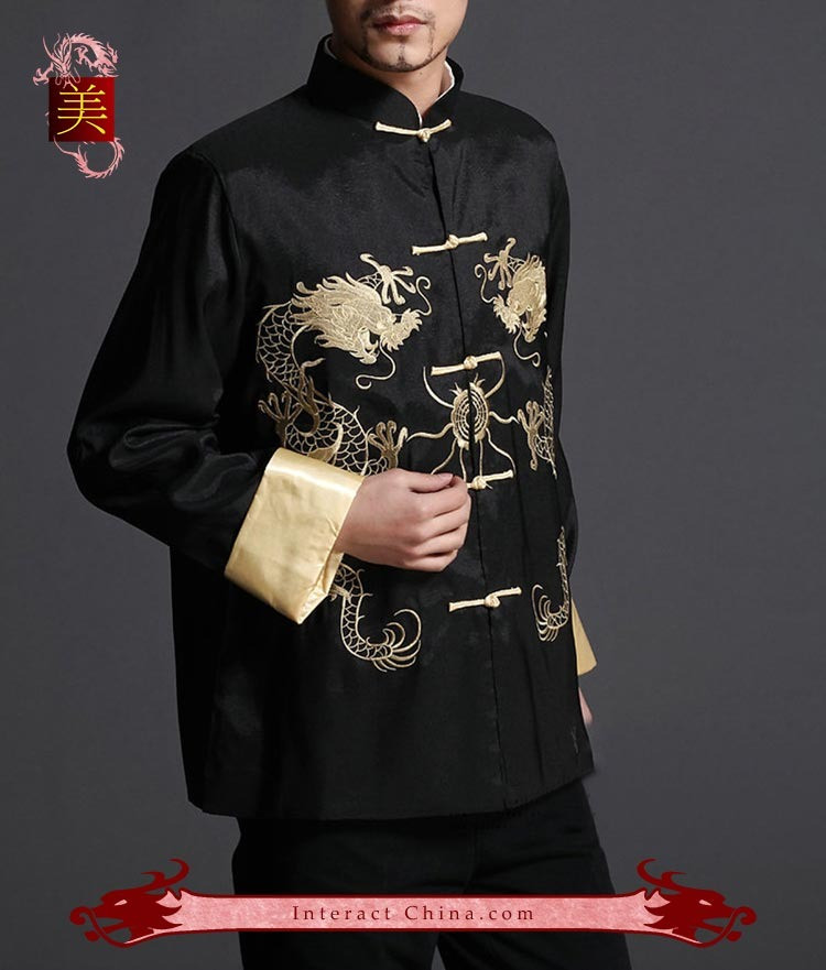 100/% Silk #107 Stylish Black Kung Fu Men/'s Blazer Padded Jacket Dragon Shirt