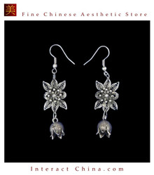 Tribal Silver Earrings Chinese Ethnic Hmong Miao Jewelry #317 Uniquely Handmade