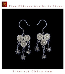 Tribal Silver Earrings Chinese Ethnic Hmong Miao Jewelry #322 Uniquely Handmade