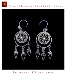 Tribal Silver Earrings Chinese Ethnic Hmong Miao Jewelry #330 Uniquely Handmade
