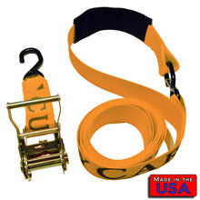 "ATV 2"" Ratchet Strap S-hook & Cordura Soft Loop/S-hook 10' 833#WLL ORANGE"