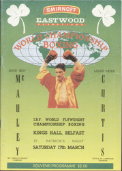 original programme for the IBF World Flyweight Championship Boxing,  Dave 'Boy' Mcauley V Louis Curtis, the fight was held at the Kings Hall, Belfast on 17 March 1990.