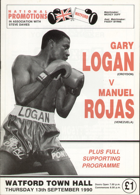 original programme for the International Boxing match Gary Logan V Manuel Rojas held at Watford Town Hall, 13 September 1990.
