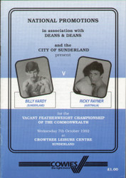 original programme for the Featherweight Commonwealth Title fight Billy Hardy V Ricky Rayner held in Sunderland  on 7 October 1992.
