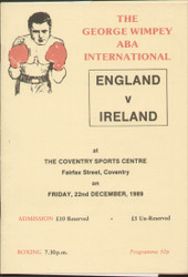 original programme for the ABA International England V Ireland  held at Coventry Sports Centre, on 22 December 1989.