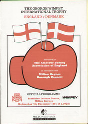original programme for the ABA International England V Denmark held in Milton Keynes, on 4 December 1991.