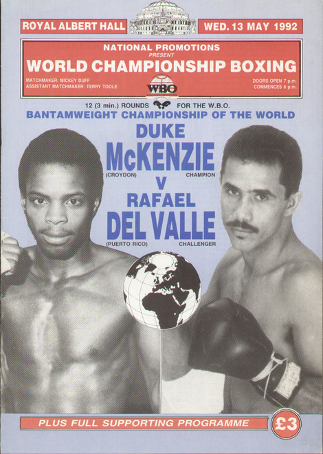 original programme for the WBO World Bantamweight Title fight, Duke McKenzie V Rafael Del Valle, the fight was held at the Royal Albert Hall on 13 May 1992.