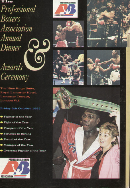 original programme for the Professional Boxers Association Annual Dinner  - Awards Ceremony held in London 6 October 1995.