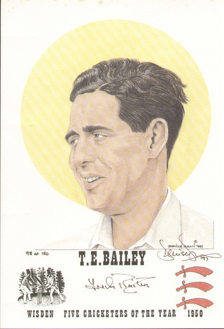 portrait of Trevor Bailey, England & Essex, Wisden cricketer of the year 1950. The artwork is by official Wisden artist Denise Dean and is issued as a limited edition of 150, this being 98.