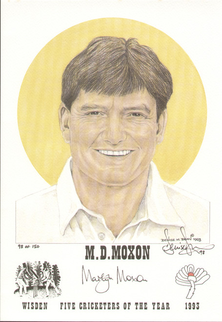 portrait of Martyn Moxon, England & Yorkshire, Wisden cricketer of the year 1993. The artwork is by official Wisden artist Denise Dean and is issued as a limited edition of 150, this being 98.