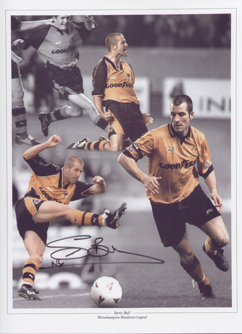 "Steve Bull made his debut for for Wolves in 1986 on went on to make over 400 appearances for Wolves between 1986 - 1999, scoring over 300 goals. This superb montage is 16""x12"" (405mm x 305mm)."