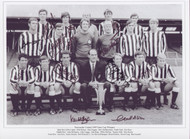 Superb multi signed photograph of the The 1969 Inter-Cities Fairs Cup Final team. The final was the eleventh Inter-Cities Fairs Cup and was played on 29 May and 11 June 1969 between Newcastle United F.C. and Újpesti Dózsa of Hungary.