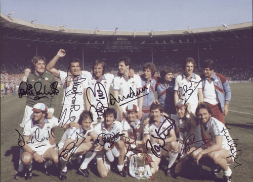 Superb iconic photograph of the West Ham team celebrating after winning the 1980 FA Cup Final with a Trevor Brooking goal.