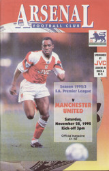 original Official programme for the Premier League match Arsenal V Manchester United played on 28 November 1992.